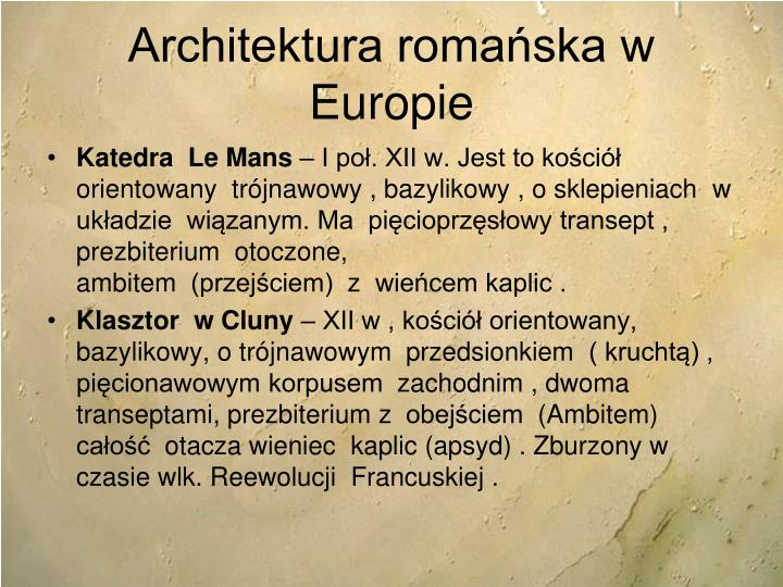 Architektura romańska w Europie