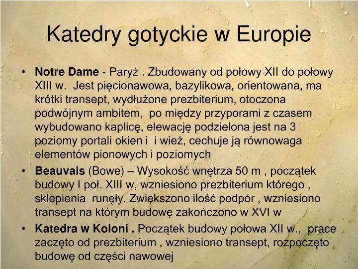 Katedry gotyckie w Europie