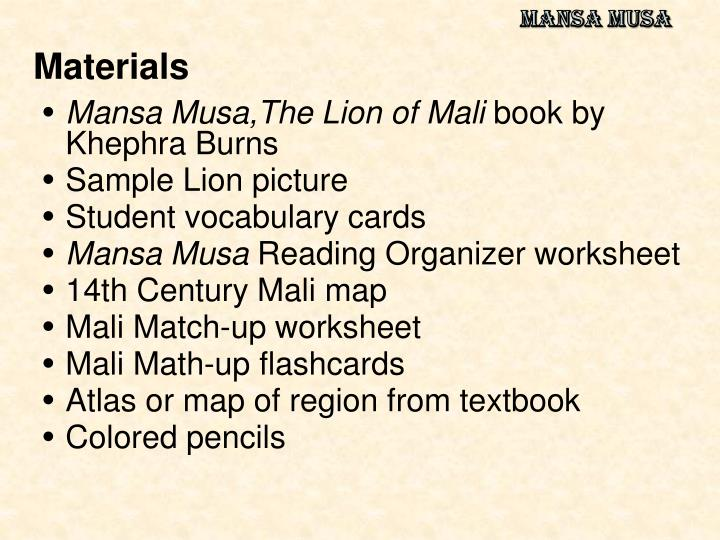 mansa musa essay The many effects of mansa musa: a writing across the curri from history with mr e - a social studies professional on teachersnotebookcom.