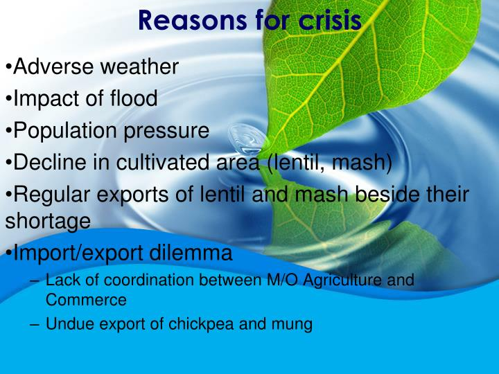 Reasons for crisis