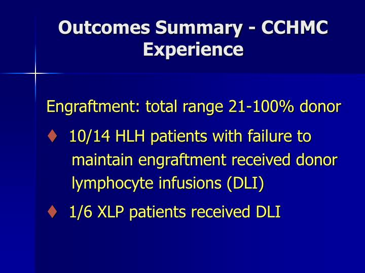 Outcomes Summary - CCHMC Experience