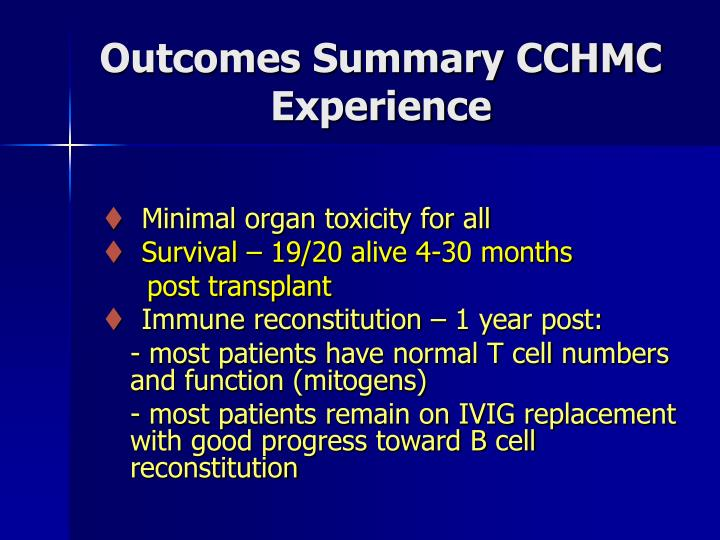 Outcomes Summary CCHMC Experience