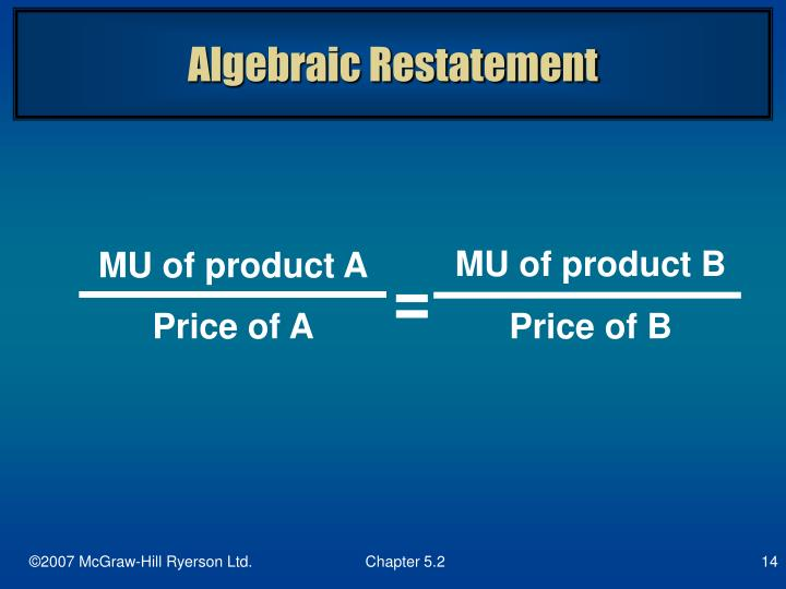 Algebraic Restatement