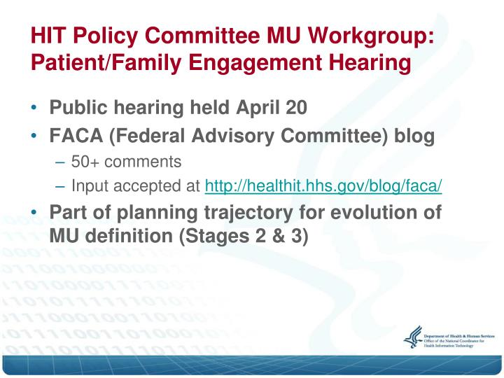 HIT Policy Committee MU Workgroup: Patient/Family Engagement Hearing