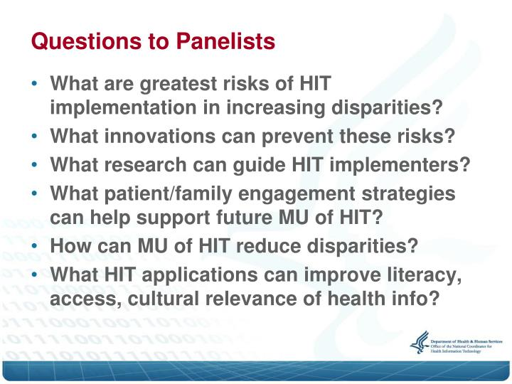 Questions to Panelists