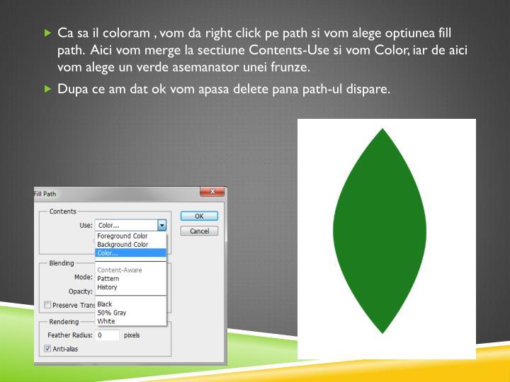 Ca sa il coloram , vom da right click pe path si vom alege optiunea fill path.  Aici vom merge la sectiune Contents-Use si vom Color, iar de aici vom alege un verde asemanator unei frunze.