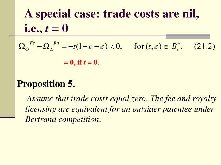 A special case: trade costs are nil, i.e.,