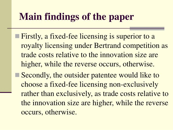 Main findings of the paper