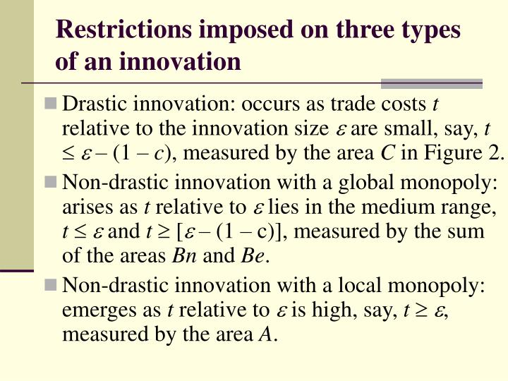Restrictions imposed on three types of an innovation