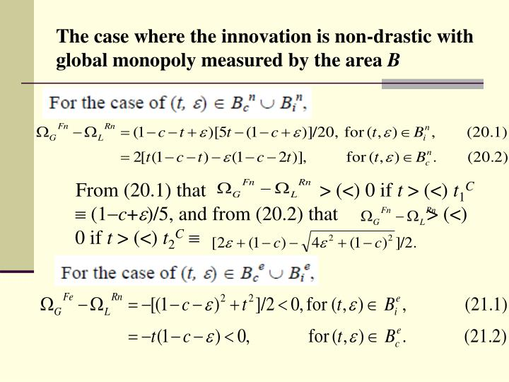 The case where the innovation is non-drastic with global monopoly measured by the area