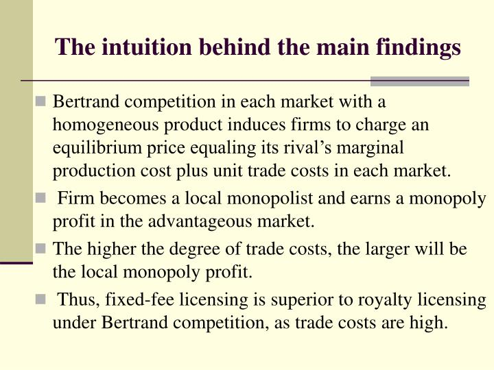 The intuition behind the main findings