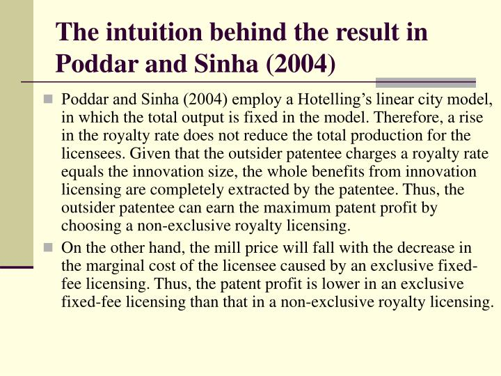 The intuition behind the result in Poddar and Sinha (2004)