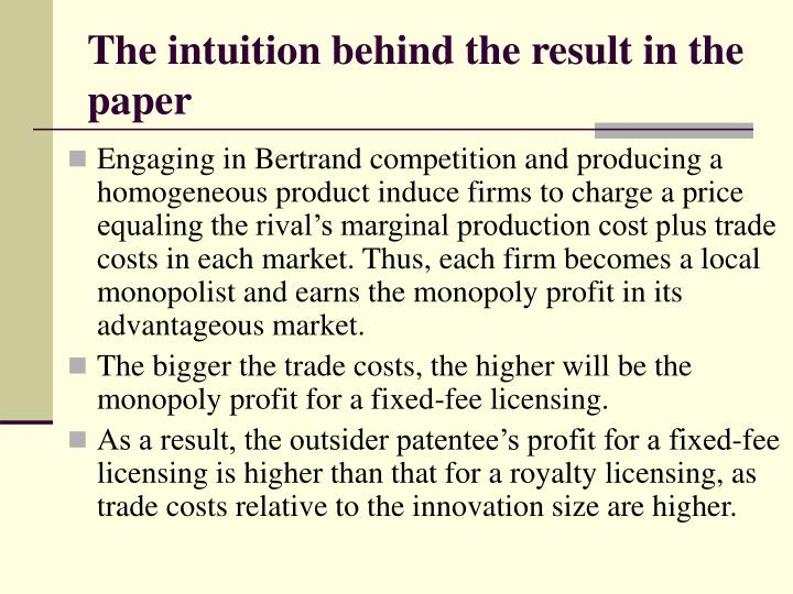 The intuition behind the result in the paper