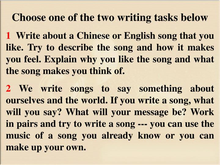 Choose one of the two writing tasks below