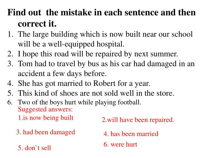 Find out  the mistake in each sentence and then correct it.