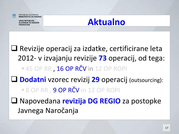Revizije operacij za izdatke, certificirane leta 2012- v izvajanju revizije