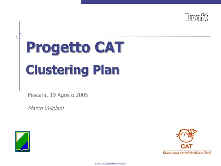 progetto cat clustering plan n.