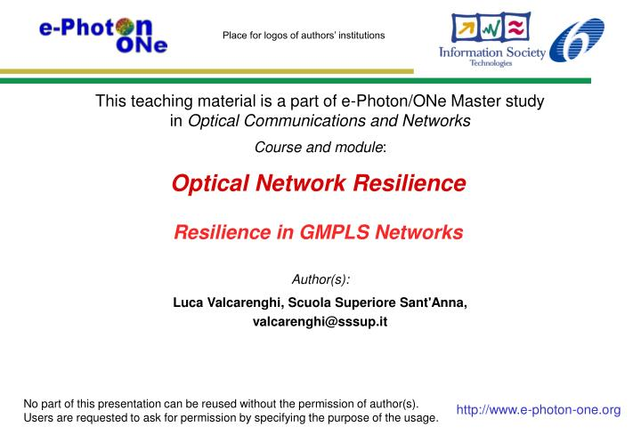 optical network resilience resilience in gmpls networks n.