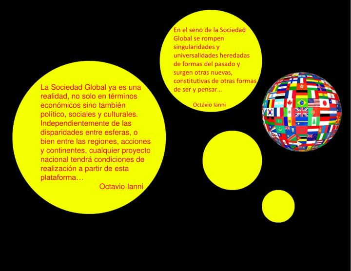 En el seno de la Sociedad Global se rompen singularidades y universalidades heredadas de formas del pasado y surgen otras nuevas, constitutivas de otras formas de ser y pensar…