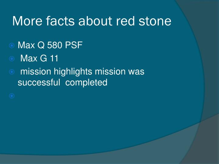 More facts about red stone