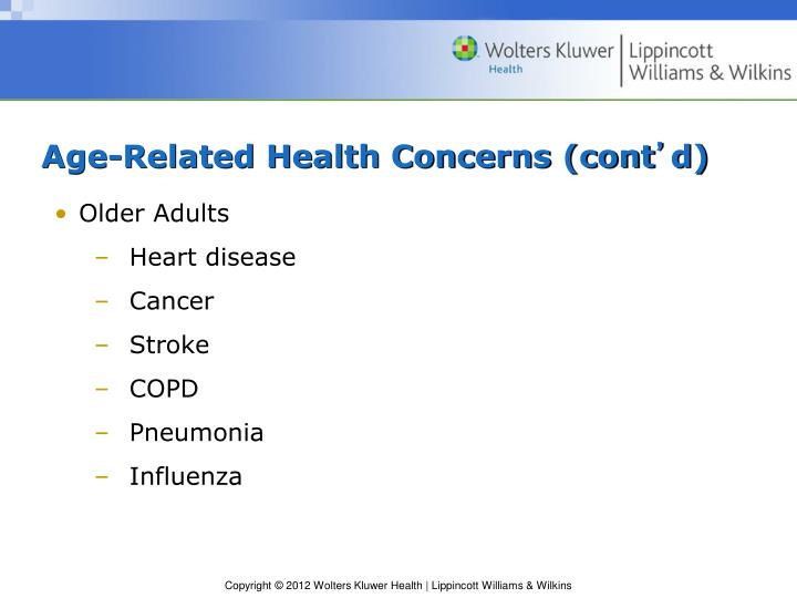 Age-Related Health Concerns (cont