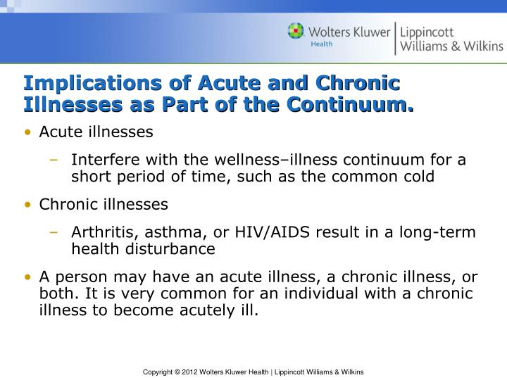Implications of Acute and Chronic Illnesses as Part of the Continuum.