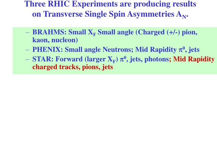 Three rhic experiments are producing results on transverse single spin asymmetries a n