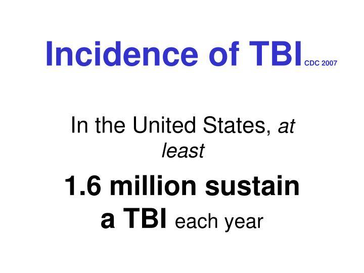 Incidence of tbi cdc 2007