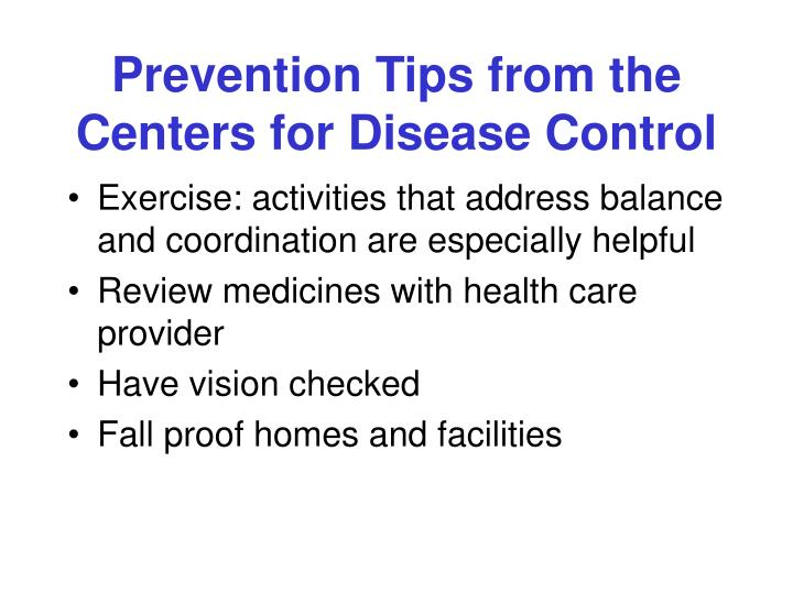 Prevention Tips from the Centers for Disease Control