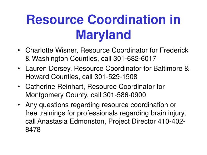 Resource Coordination in Maryland