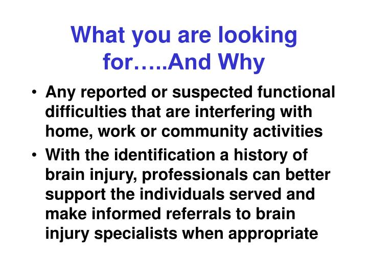 What you are looking for…..And Why