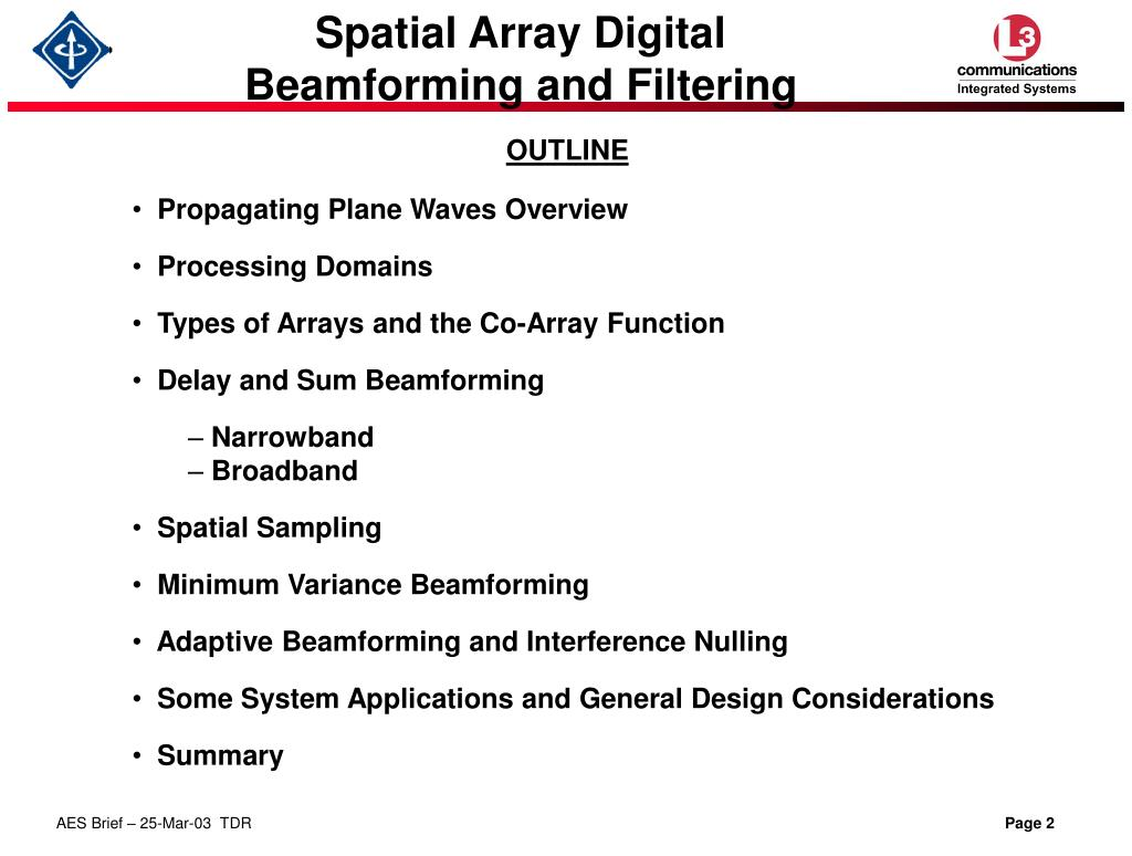 PPT - Spatial Array Digital Beamforming and Filtering