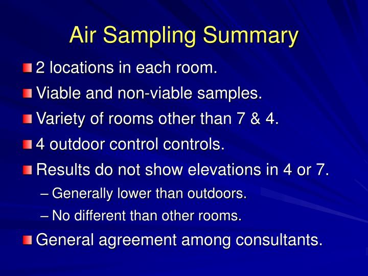 Air Sampling Summary