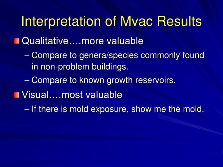 Interpretation of Mvac Results