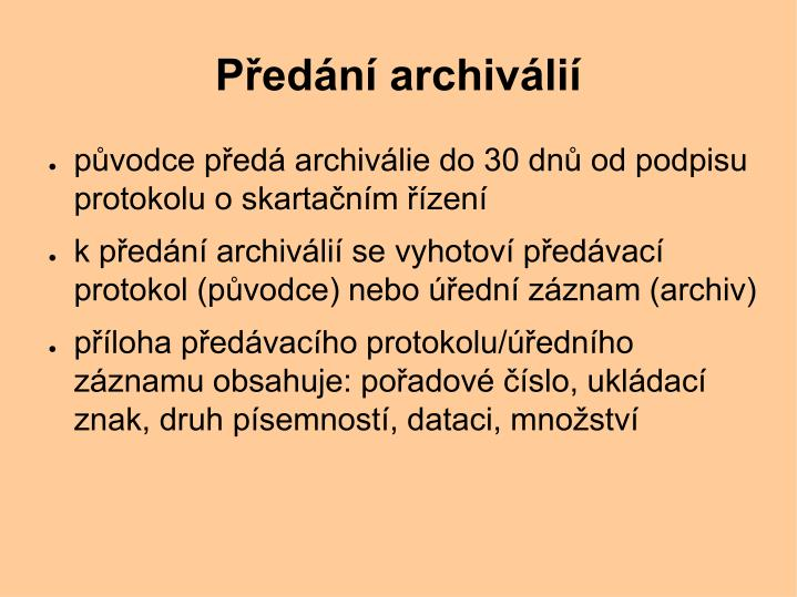 Předání archiválií