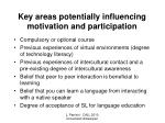 key areas potentially influencing motivation and participation