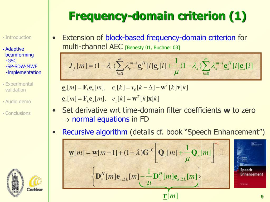 PPT - Frequency-domain Criterion for Speech Distortion