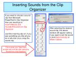 inserting sounds from the clip organizer
