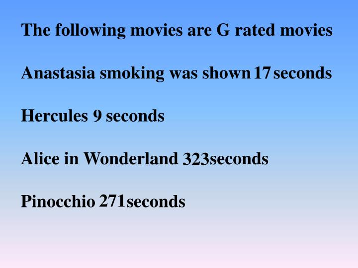 The following movies are G rated movies