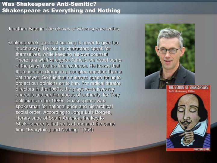 Was Shakespeare Anti-Semitic?