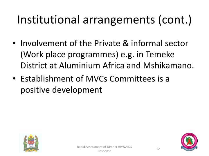 Institutional arrangements (cont.)