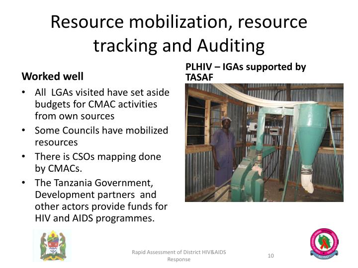 Resource mobilization, resource tracking and Auditing