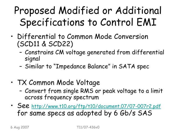 Proposed modified or additional specifications to control emi