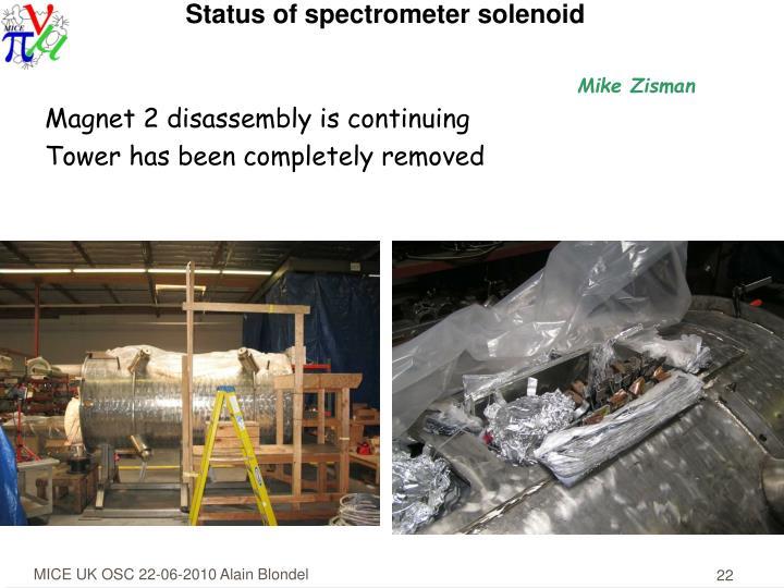Status of spectrometer solenoid