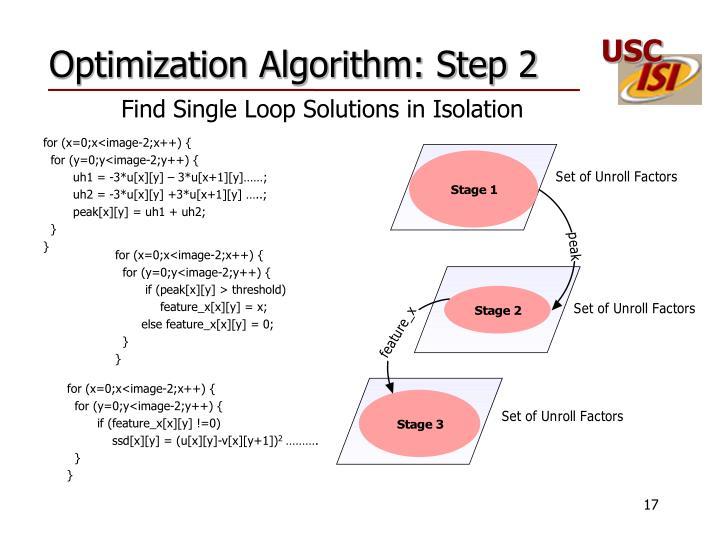 Optimization Algorithm: Step 2