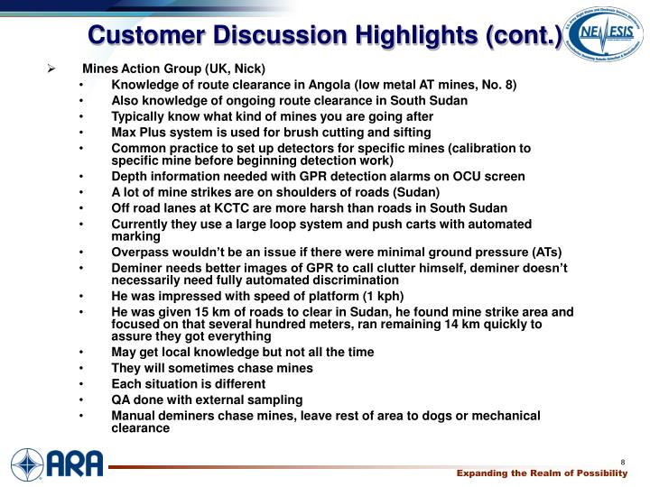 Customer Discussion Highlights (cont.)