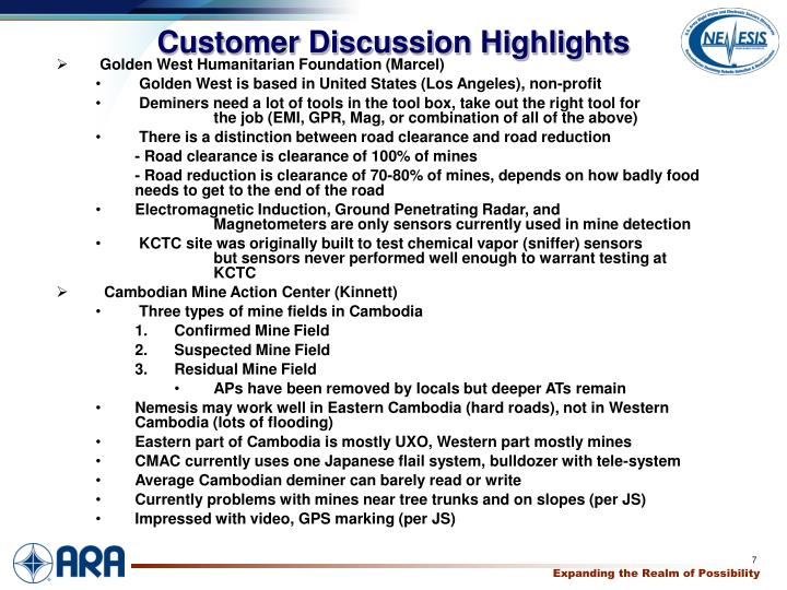 Customer Discussion Highlights