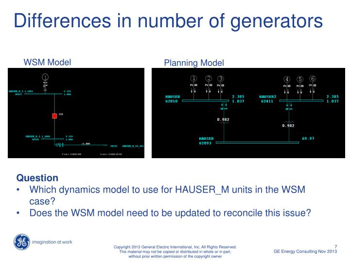 Differences in number of generators