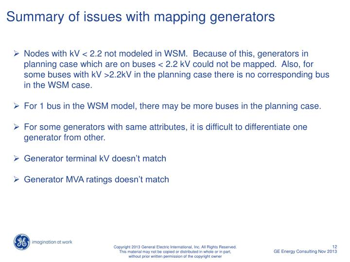 Summary of issues with mapping generators