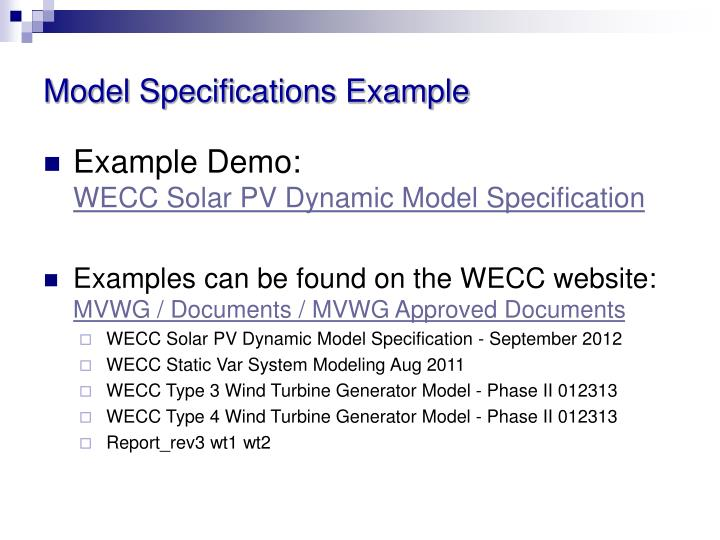 Model Specifications Example